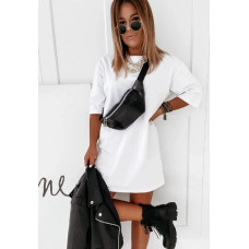 Сукня жіноча оверсайз однотонне короткий стильне. Повсякденне літнє плаття (чорний, білий, бежевий)