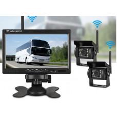 """Автомобильный монитор Jansite с 7 """"TFT + 2 камеры для грузовиков, система заднего вида, напугать 12-24В"""