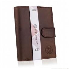 Гаманець чоловічий бренд Вetlewski Польща натуральна шкіра захист RFID коричневий BPM-HT-64