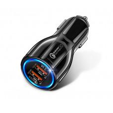 Автомобільний зарядний пристрій прикурювач Універсальний подвійний XCZJ USB Quick Charge 3,0 швидкий