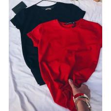 Женская футболка однотонная базовая, Женская стильная трикотажная футболка кулир (черный, бежевый, белый, крас