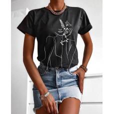 Футболка женская яркая с красивым принтом оверсайз, футболка со стильным рисунком для девушки (чёрный, белый)