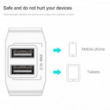 Зарядное устройство для телефона Baseus Mini Dual-U 2USB 2.1A (Белый)