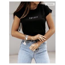 Женская футболка оверсайз с надписью Simplicity, Женская футболка стильная oversize трикотажная Чёрный, белый