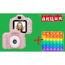 Детский фотоапарат JYC X02 розовый, голубой + в подарок Сенсорная игрушка антистресс Pop It Поп Ит