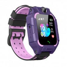 Детские умные часы Q19 GPS ,LBS, Wi-Fi водонепроницаемые фиолетовые
