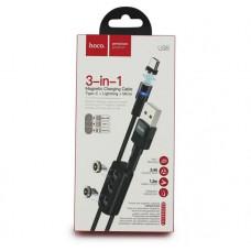 Магнитный кабель 3 в 1 для зарядки телефона. 3 коннектора с подсветкой 1,2м hoco U 98