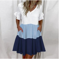 Платье летнее трехцветное с карманами Megan софт синий, капучино 42-44, 44-46