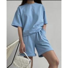 Костюм женский спортивный оверсайз шорты и футболка Lior трикотаж голубой, бежевый, лавандовый, белый, черный