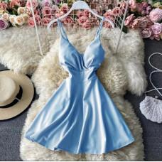 Платье летнее коктейльное с чашечками Divine софт голубой, красный, белый, фисташковый 42, 44,  46, 48