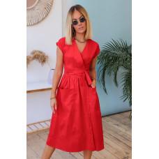 Платье летнее на запах с карманами Амели коттоновое красный, бежевый, фисташковый, голубой 42-44, 46-48