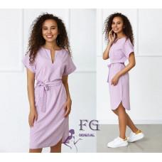 Платье летнее легкое в горошек Victoria софт лиловый, капучино, фисташковый, черный, голубой 42-44, 46-48