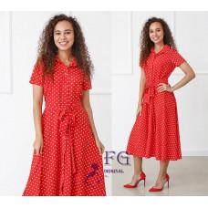 Платье летнее в горох на пуговицах Evidence Норма батал софт красный, фрезовый,черный,бежевый, голубой,розовый