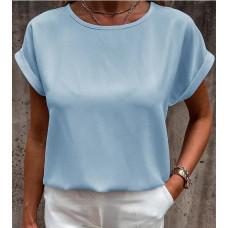 Блузка футболка летняя оверсайз свободного кроя Momentголубой, черный. фрезовый, белый, бежевый, оливковый