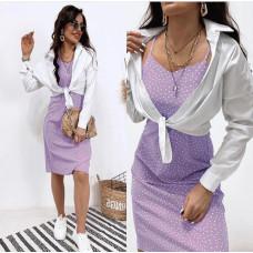 Комплект летний сарафан в горошек + рубашка белая Eclipse софт, поплин лиловый, капучино, фисташковый, черный