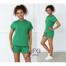 Костюм летний спортивный трикотажный футболка-худи с шортами Original черный, персиковый, малиновый, зеленый