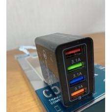 Зарядное устройство для мобильного телефона Fast Charge 4USB Черный
