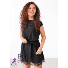 Платье летнее элегантное с кружевом Шерри черный, белый, фрезовый, оливковый, темно-синий 40-42, 42-44, 46-48.