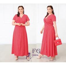 Платье летнее в пол Кайли на запах в белый горошек Батал софт красный, черный, бежевый, голубой 50, 52