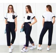 Костюм женский летний футболка белая с брюками Персей Норма и батал софт, креп жатка темно-синий, терракотовый