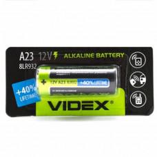 Батарейка A23 VIDEX алкалиновая для брелков, звонков 12в
