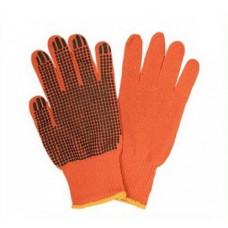 Перчатки рабочие, садовые оранжевые с ПВХ точкой размер L