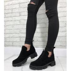 Женские туфли натуральная замша черный размеры 36-41