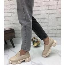 Туфли женские на шнуровке натуральная кожа бежевый размеры 36-41