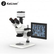 Тринокулярный микроскоп Kailiwei Simul Focal Stereo Microscope с ЖК-камерой8-дюймовый ЖК-экран 2MP HDMI VGA