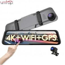 Автомобильный видеорегистратор Zimtop 4K WiFi gps ночного видения, зеркало заднего вида