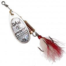 Блесна DAM Effzett Standard Dressed Spinner с бородкой 12 г Reflex Silver